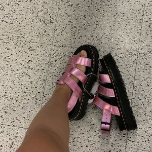 Dr. Martens Shoes - Pink holo doc marten sandals
